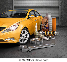 Auto parts with beautiful car in garage