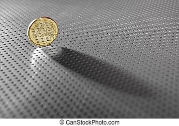 One euro coin currency over hole silver pattern - One euro...
