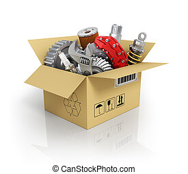 Auto parts in the cardbox Automotive basket shop Auto parts...