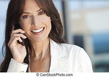 feliz, mujer, o, mujer de negocios, Hablar, en,...