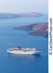 Luxury cruise ship. - Luxury cruise ship sailing around...