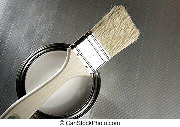 pintor, cepillo, blanco, Pintura, estaño