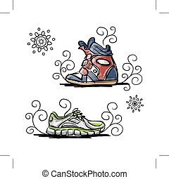 Sneakers sketch for your design. Vector illustration