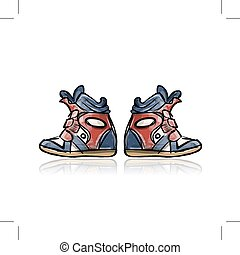 Female sneakers, sketch for your design. Vector illustration
