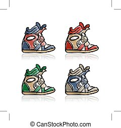 Female sneakers collection, sketch for your design. Vector...