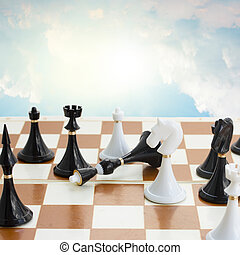 checkmate white defeats black  king