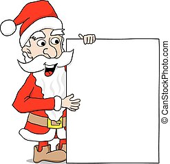 santa claus presents a sign with copy space
