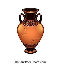 Ancient vase isolated on white vector - Ancient vase...