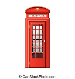 London phone booth isolated on white vector - London phone...