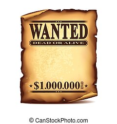 Wintage wanted poster isolated on white vector - Wintage...
