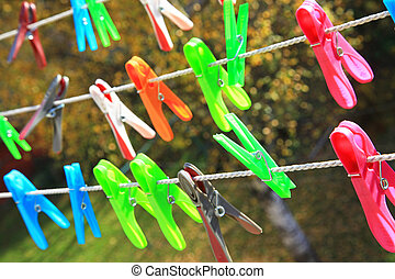 Clothes pegs on the balcony