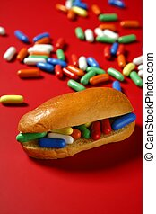 Sandwich made of colorful candy sweet