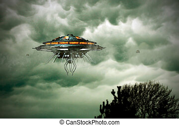 unidentified flying object flying over a tree