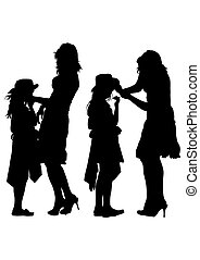 Mom and daughter - Silhouette of a mother and daughter on...