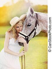 mujer, con, caballo,