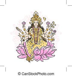Indian goddess Shakti, sketch for your design. Vector...