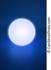 Abstract glowing light sphere over blue