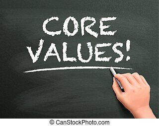 core values words written by hand on blackboard