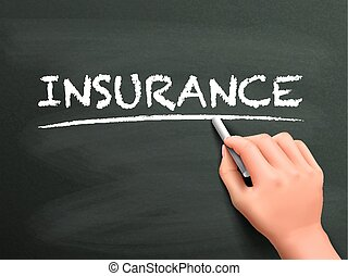 insurance word written by hand on blackboard