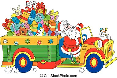 Santa with Christmas gifts - Santa Claus carrying Christmas...