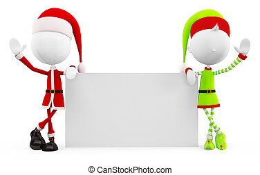 3d santa & Elves for board pose