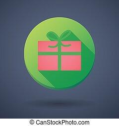 long shadow icon with a christmas present - Illustration of...