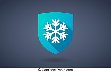 Long shadow shield icon with a snow flake
