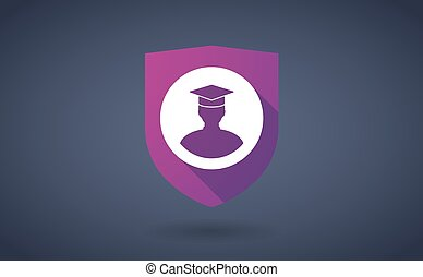 Long shadow shield icon with a student