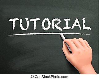 tutorial word written by hand on blackboard