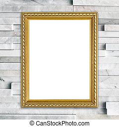 golden frame on modern marble wall backgrond - blank golden...