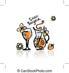Sangria, spanish drink. Sketch for your design. Vector...