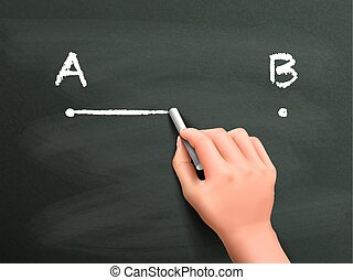 point A to B drawn by hand isolated on blackboard