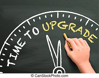 time to upgrade written by hand on blackboard