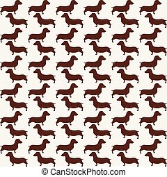 Cute little dogs scotch terriers silhouette seamless. - Cute...