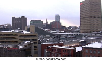 Manchester city centre in winter - Overview of rooftops and...