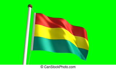 Bolivian flag seamless green screen