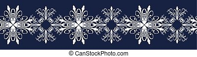 Seamless border with snowflakers - Seamless dark blue border...