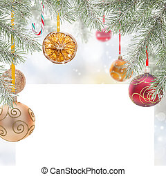 Abstract Christmas background with blank paper.