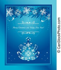 Stylized Christmas tree with tinsel and snowflakes Greeting...