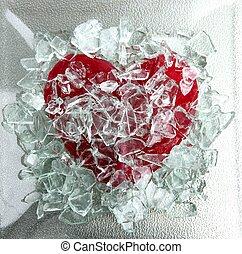 cassé, verre, rouges, coeur