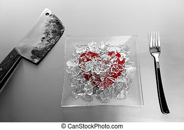 Broken heart with bloody knife - Broken sweet candy red...