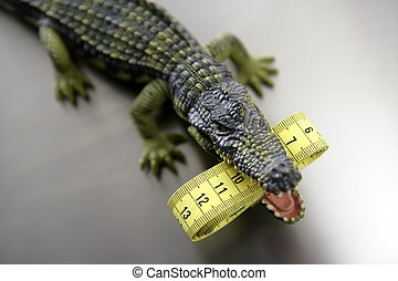 Toy plastic cocodrile, aligator with centimeter tape measure...