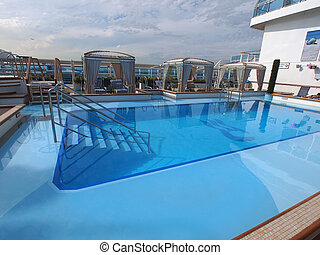 swiming pool - View of the cruise ship deck with luxurious...