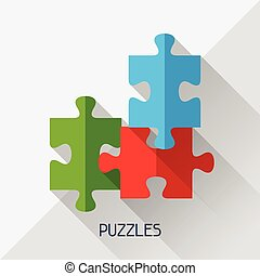 Game illustration with puzzles in flat design style.