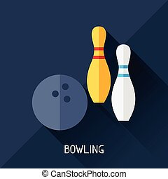 Game illustration with bowling in flat design style.