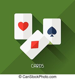 Game illustration with cards in flat design style.