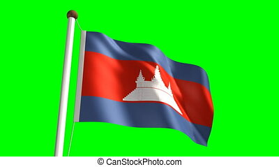 Cambodian flag seamless green screen