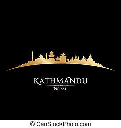 Kathmandu Nepal city skyline silhouette black background -...