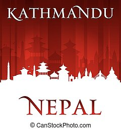 Kathmandu Nepal city skyline silhouette red background -...