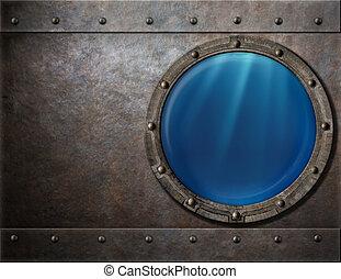 submarine or battleship porthole steam punk metal background...